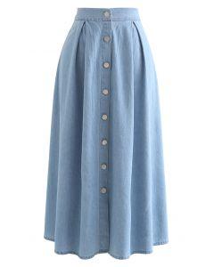 Button Front Cotton A-Line Midi Skirt in Denim
