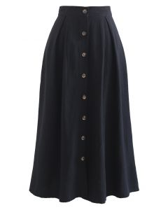 Button Front Cotton A-Line Midi Skirt in Black