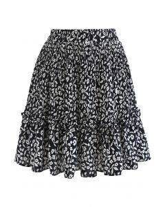 Floret Print Ruffle Detailing Mini Skirt in Black