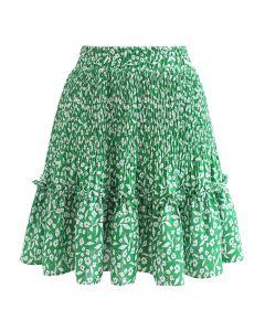 Floret Print Ruffle Detailing Mini Skirt in Green