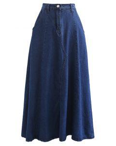 Side Pocket A-Line Denim Midi Skirt in Navy