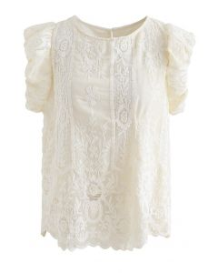 Embroidered Floral Short Sleeve Top in Cream