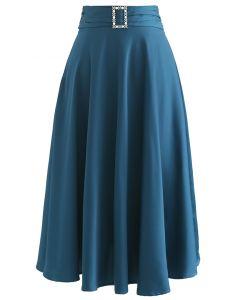 Brooch Detail Satin A-line Midi Skirt in Indigo