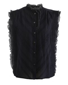Contrast Edge Button Down Sleeveless Top in Black