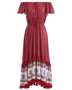 Boho Floret Printed Flutter Sleeves Maxi Dress in Red