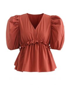High Ruffle Waist V-Neck Bubble Sleeve Top in Rust Red