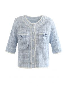 Bowknot Decorated Button Down Knit Cardigan in Blue