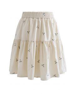 Floret Embroidered Frilling Mini Skirt in Cream