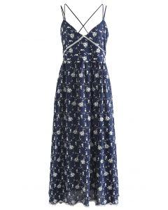 Cross Back V-Neck Embroidered Cami Dress