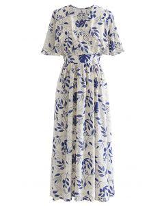 Botanical Garden Wrap Tied Midi Dress in Ivory