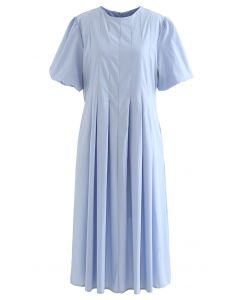 Puff Short Sleeve Pleated Midi Dress in Blue