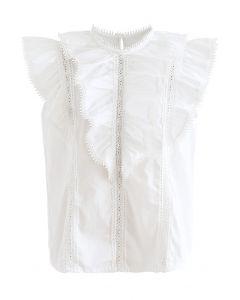 Layered Ruffle Crochet Trim Sleeveless Top in White