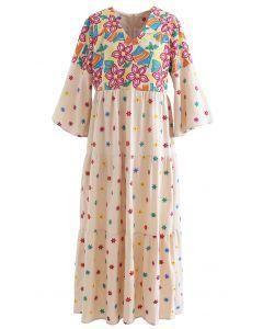 Vivid Floral Embroidered Flounced Cuffs Maxi Dress