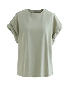 Quilted Twist Cuffs Oversize Top in Pea Green