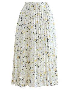 Colorful Dot Print Pleated Midi Skirt