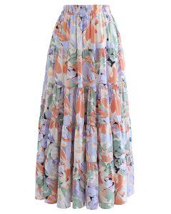 Wondrous Floral Frilling Chiffon Maxi Skirt in Lavender