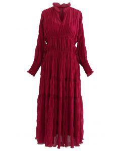Full Shirring Side Drawstring Chiffon Dress in Red