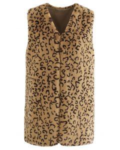 Sleeveless Leopard Faux Fur Vest