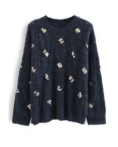 Braid Sequin Embellished Fuzzy Knit Sweater in Navy
