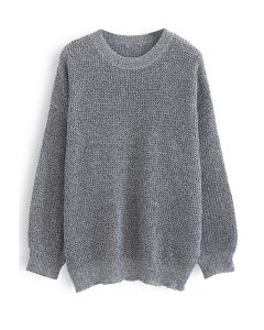 Oversize Hollow Out Knit Sweater in Grey