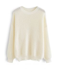 Oversize Hollow Out Knit Sweater in Cream
