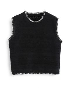 Contrast Edge Hollow Out Knit Vest in Black