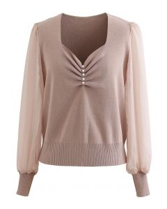 Sweetheart Neck Pearly Spliced Knit Top in Tan