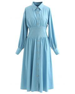 Button Down Cotton Shirt Dress in Blue