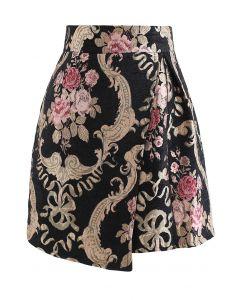Baroque Peony Jacquard Flap Mini Skirt