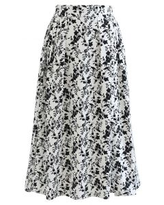 Floret Shadow Pleated Midi Skirt in White