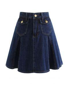 High Waist Flare Hem Denim Mini Skirt