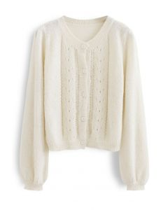 Hollow Out Fuzzy Knit Cardigan in Cream