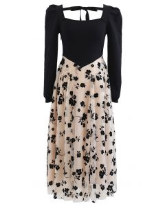 Knit Spliced Posy Printed Layered Mesh Midi Dress
