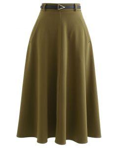Slanted Side Pocket Belted A-Line Midi Skirt in Khaki