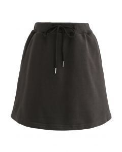 Cotton Drawstring Pocket Mini Skorts in Brown