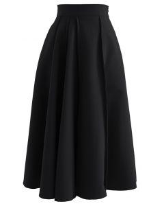 High Waist Seam Detailing A-Line Midi Skirt in Black