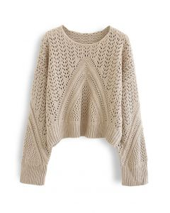 Hollow Out Chunky Knit Sweater in Tan