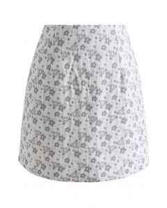 Floret Jacquard Mini Bud Skirt in Grey