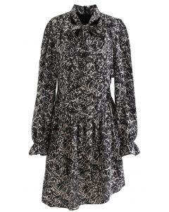 Mazy Leaf Print Tie V-Neck Frilling Dress