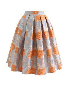 Orange Bouquet Jacquard Pleated Midi Skirt