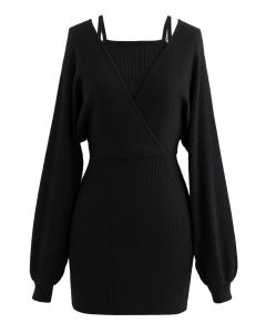 Fake Two-Piece Cold-Shoulder Wrap Knit Dress in Black