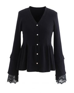 Lace Inserted Peplum Knit Top in Black