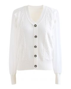 Sheer-Sleeve Lacey Button Trim Knit Top in White