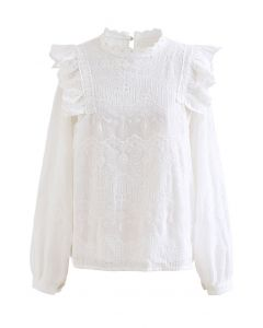 Embroidery Bubble Sleeve Ruffle Chiffon Top in White