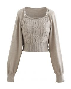 Cropped Braid Knit Cami Top and Sweater Sleeve Set in Linen