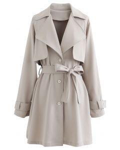 Storm Flap Button Down Mini Coat Dress in Sand