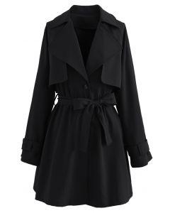 Storm Flap Button Down Mini Coat Dress in Black