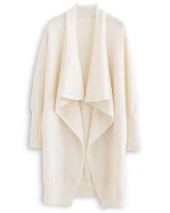 Waterfall Longline Knit Cardigan in Cream
