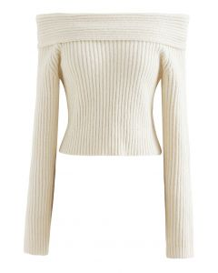 Courtly Off-Shoulder Fuzzy Crop Knit Top in Cream