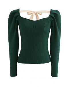 Gigot Sleeve Square Neck Crop Knit Top in Green